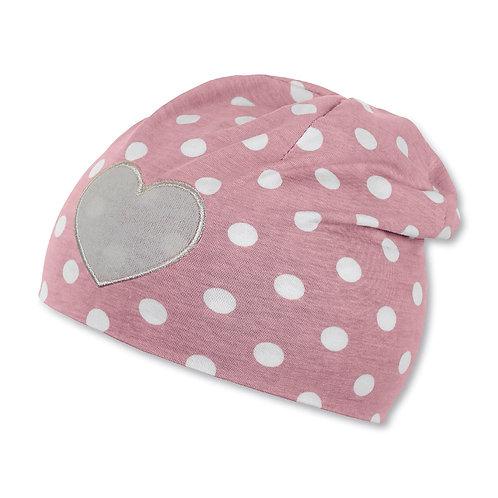Sterntaler berretto jersey cotone rosa antico pois