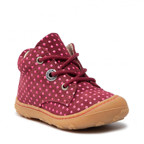 Pepino Happy scarpe camoscio rosso pois rosa superflessibile primi passi