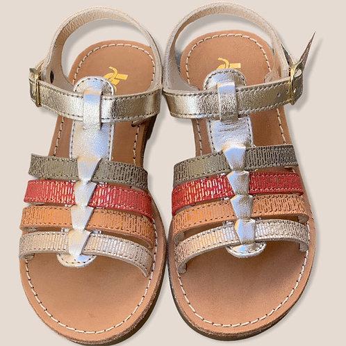 Bopy sandali bambina in pelle con plantare in cuoio chiusura 1 fibbietta