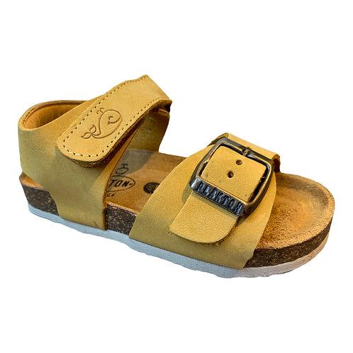 Plakton sandali anatomici in pelle suola flessibile giallo ocra Made in Spain