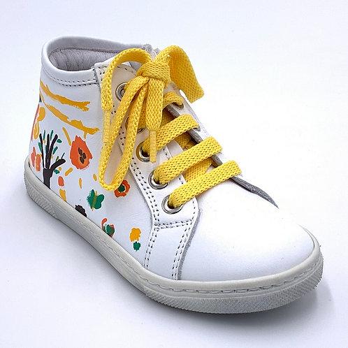 Panda scarpe sneaker in pelle dipinta lacci cerniera Made in Italy