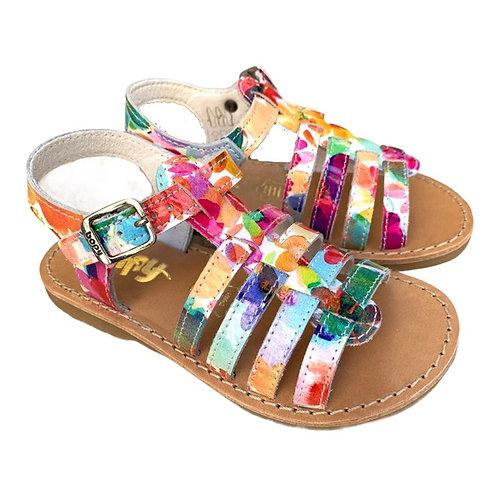 Bopy sandali bambina in pelle con plantare in cuoio chiusura fibbia