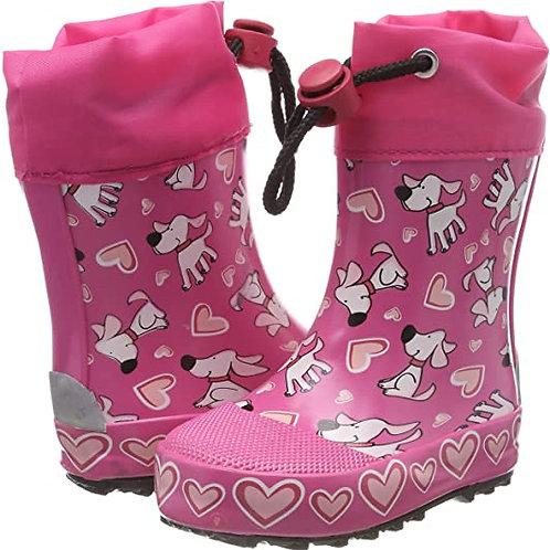 Stivali di gomma bassi con coulisse cagnolini pink Gummistiefel