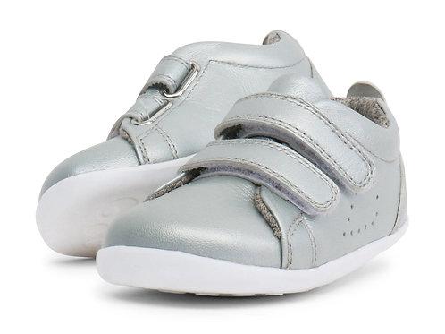 Bobux Grass Court scarpe primi passi in pelle argento