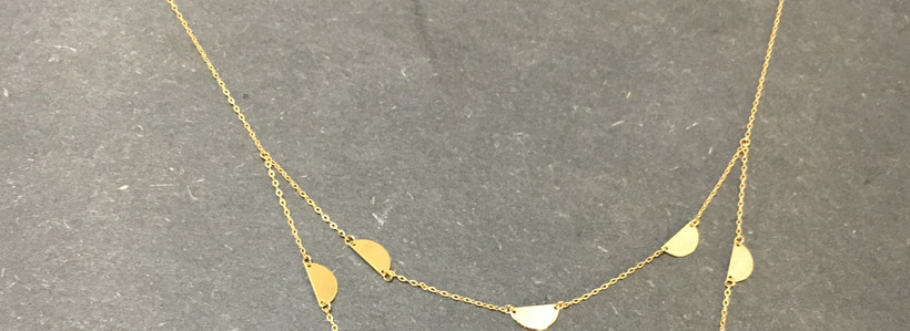 Collier deux rangs or jaune 750.