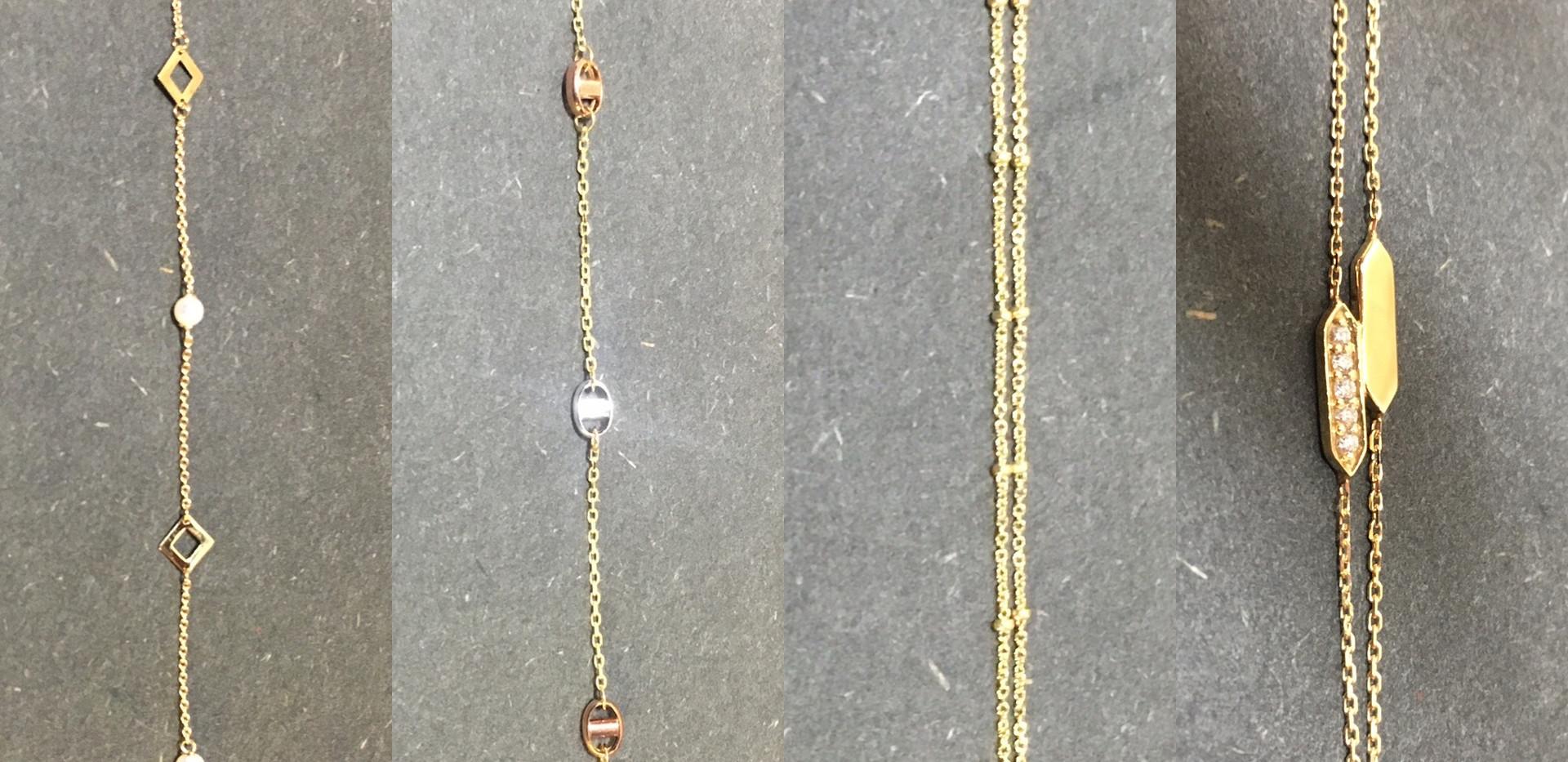 Choix Bracelets assortis, trois or 750, diamants. A partir de 185€