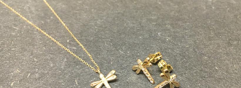 New, parure libellule diamant et or jaune 750