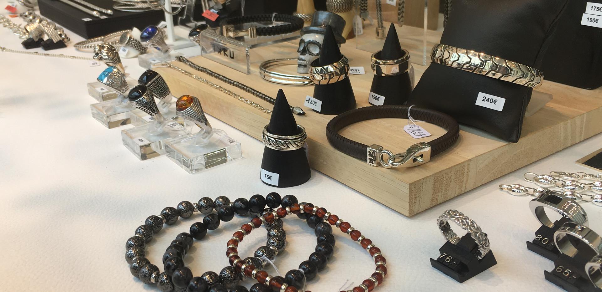 Séléction homme argent 925 et perles, ambre, obsidienne, agate.