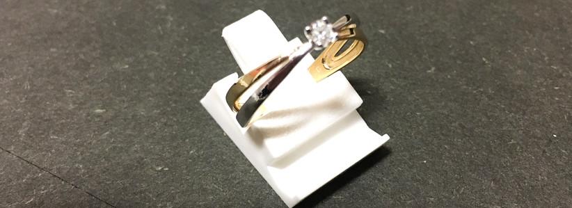 Solitaire bicolore or 750 diamant.
