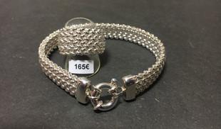 Bracelet et bague maille souple fermoir boue argent 925.