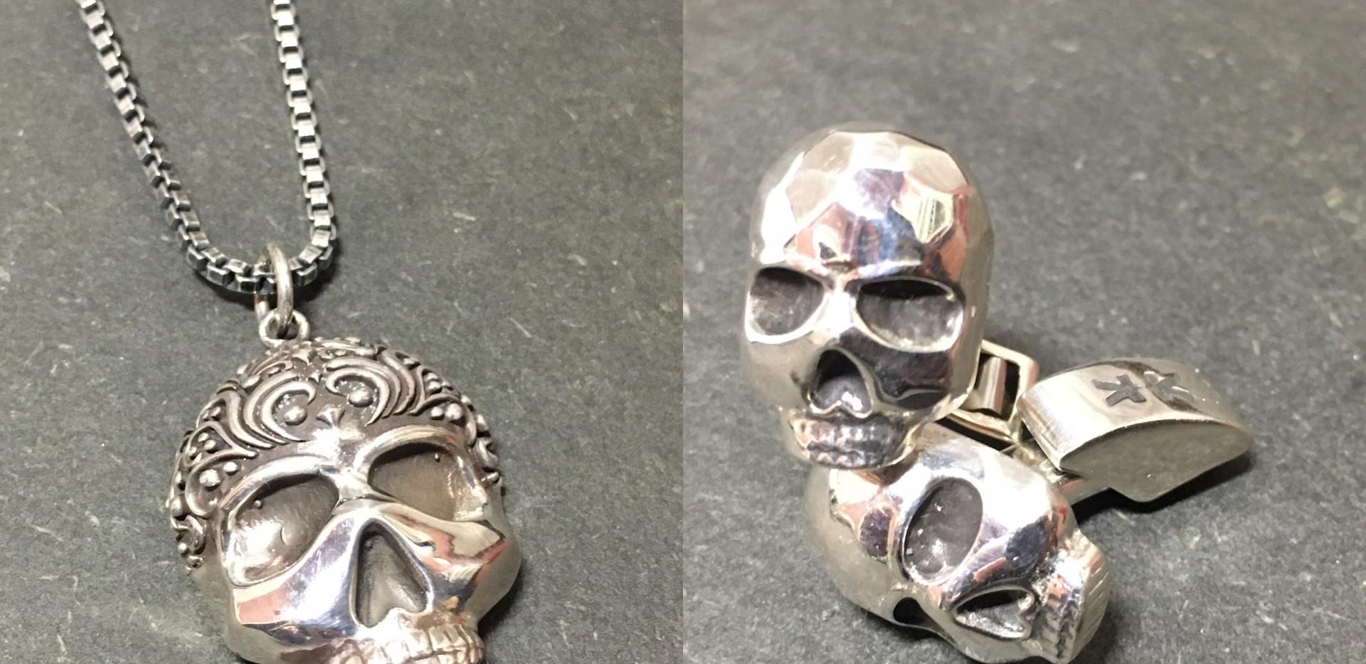 Collier- RARE bouton de manchette crane IKKU argent 925. Chaine venitienne finition ruthenium.