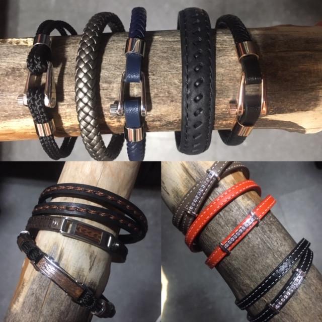 Bracelet cuir et acier.