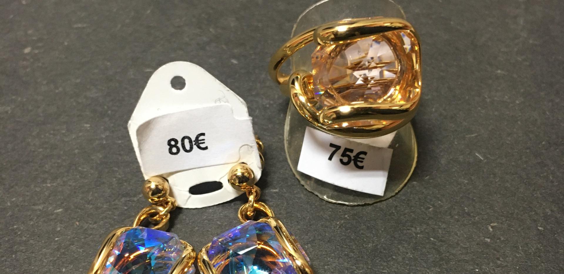 Bague et boucle oreille plaqué or jaune cristaux.