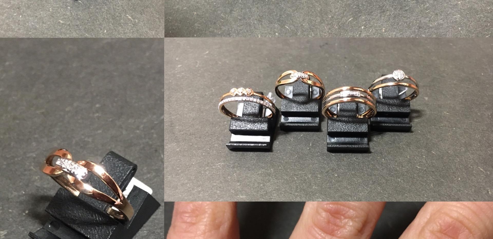 New- Bagues or rose, blanc 750 ème et diamants. Minimaliste, asymétrique, fine, élégente, féminine... A partir de 300€
