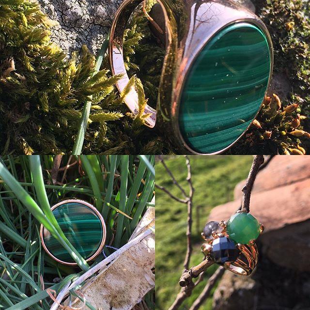 Bague chevalière, pierre malachite. Bague trilogie hématite, quartz, agate verte.