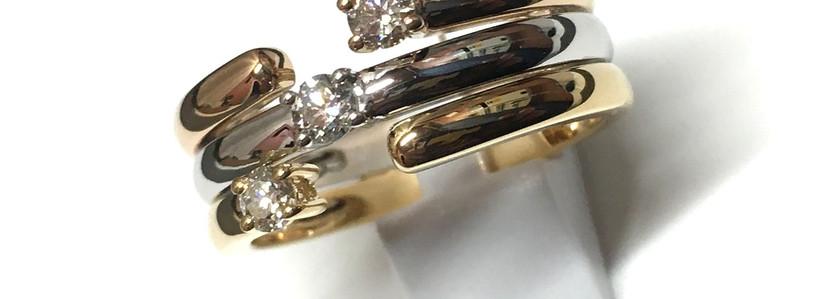 New, Joaillerie Garden Party, signature trilogie. Trois ors 750, trois diamants 0.30cts. Frabrication Française