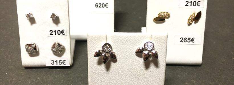 Sélection boucles oreille , diamants & or 750.