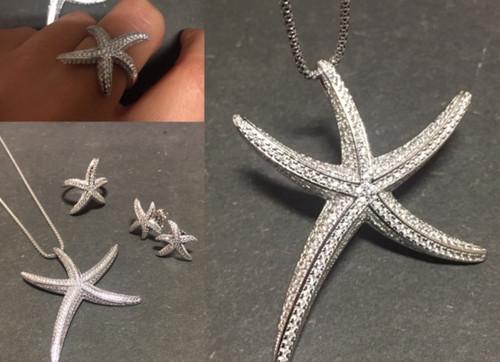 Lineargent, collection parure étoile mouvement & harmonie. Collier sautoir, 80cm, pendentif serti pavage oxydes.