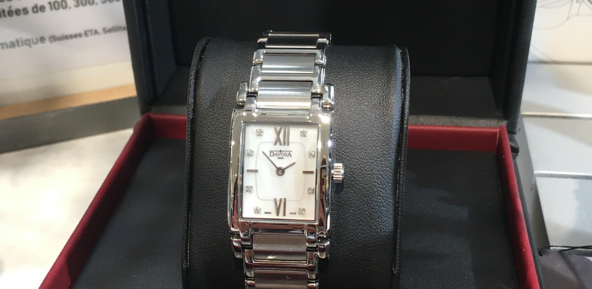 Davosa MEMORY Dame boite rectangle, nacre & diamants. 399€