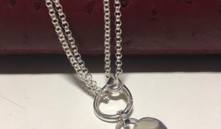 Collier Guiot de Bourg argent 925 pendentif coeur, collier maille jaseron double, possibilité de porter en collier court ou en sautoir.
