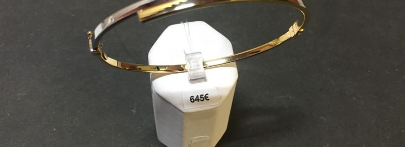 Bracelet rigide deux ors 750. 64