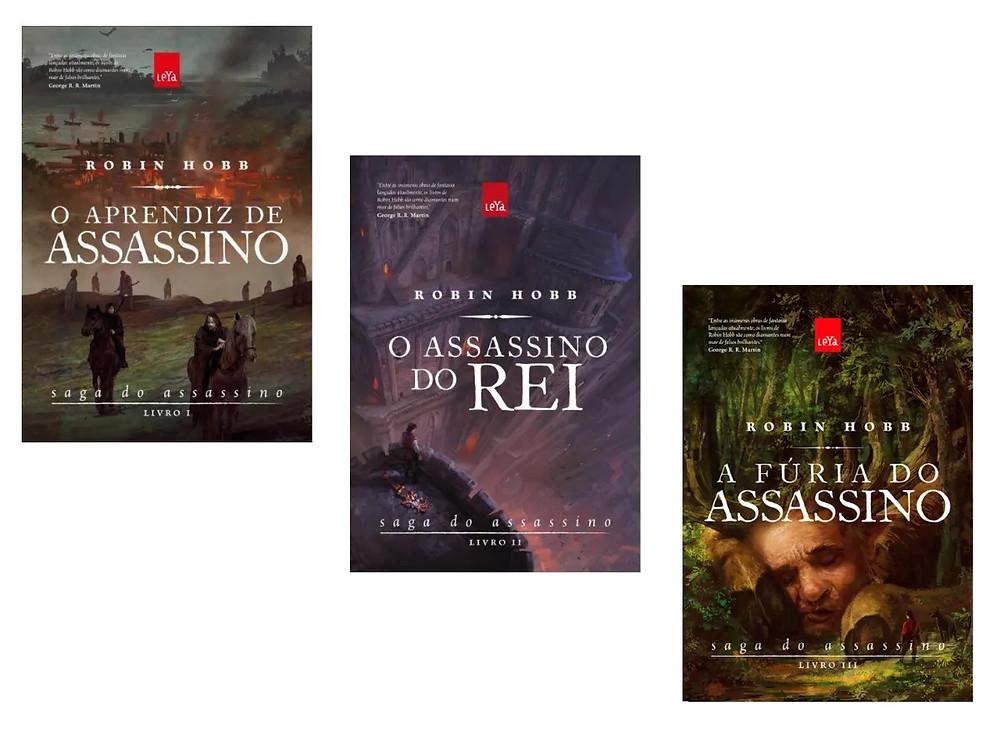 """As capas dos livros """"O  aprendiz de assassino"""", """"O assassino do rei"""" e """"A fúria do Assassino"""", de Robin Hobb"""