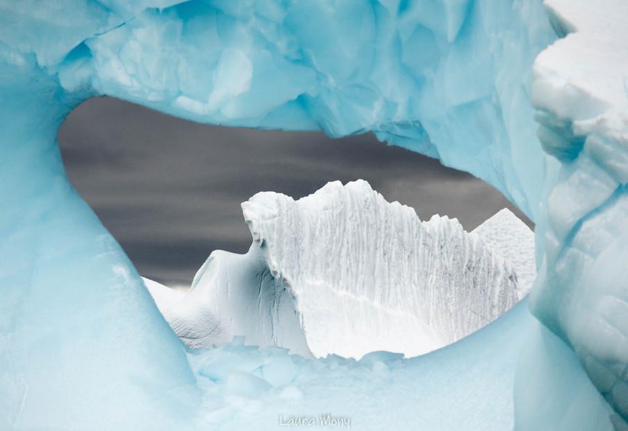An iceberg view through another iceberg