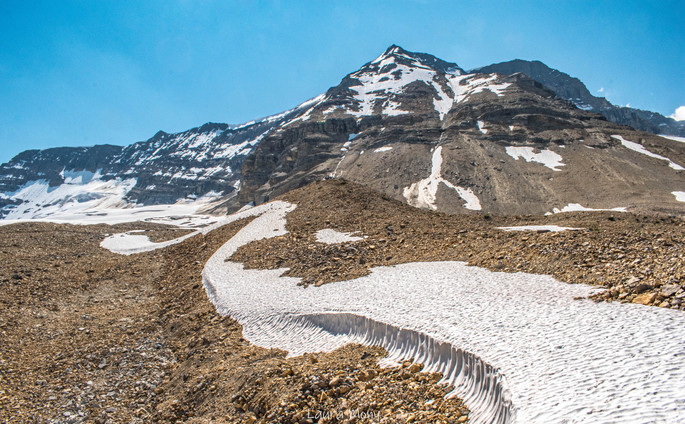 Trace of snow in the middle of summer