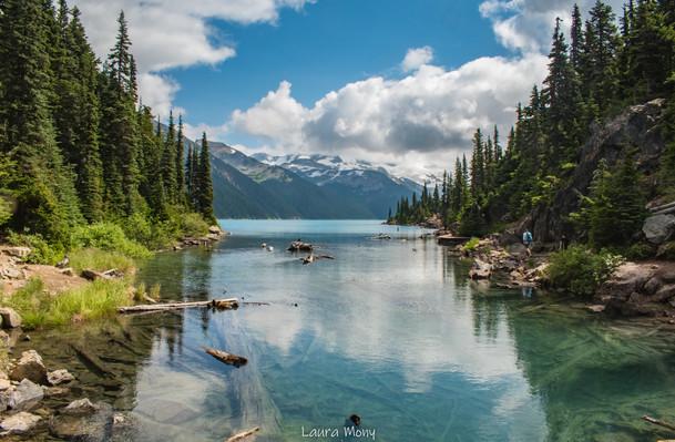 Cristal clear water of Garibaldi lake on a sunny day