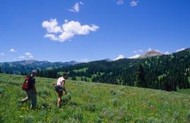 Hikers on Contiental Divide - Hebgen Lake from Lionhead Peak - George Wuerthner