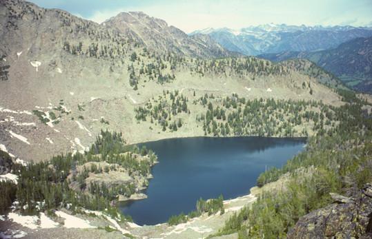 65171-05377 Unnamed Lake Below Lionhead Peak - Hebgen Lake from Lionhead Peak - George Wuerthner