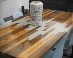 FIR WHITE PEARL RESIN TABLE