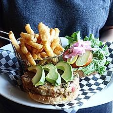 Vegan Burger with fries