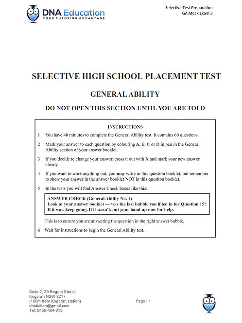 DNA Education General Ability Mock Exam 3 with solutions