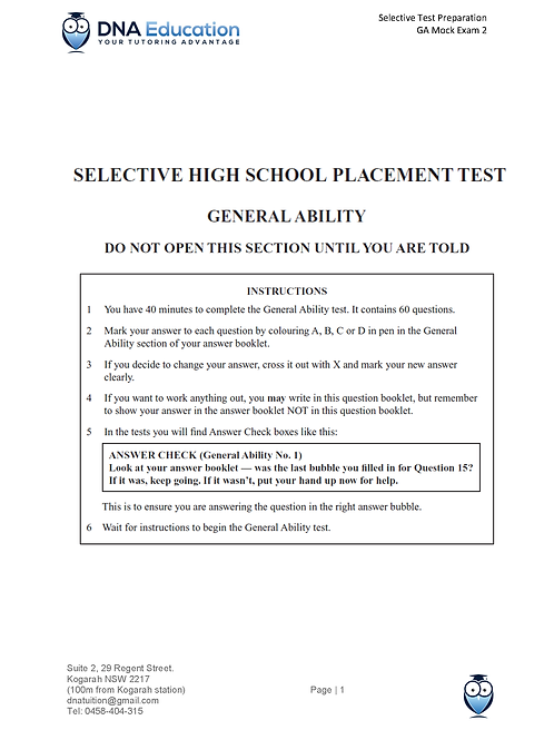 DNA Education General Ability Mock Exam 2 with solutions