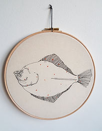 """Gemma Rappensberger-an embroidered plaice fish in a 10"""" embroidered hoop"""