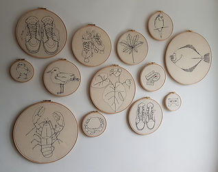 Gemma Rappensberger-a selection of embroidered illustrations in various sized hoops.