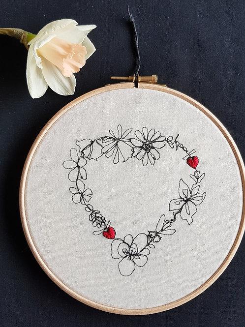 """Floral love 7"""" hoop"""