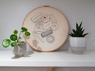 """Gemma Rappensberger-an embroidered illustration of british biscuits in a 12"""" hoop."""