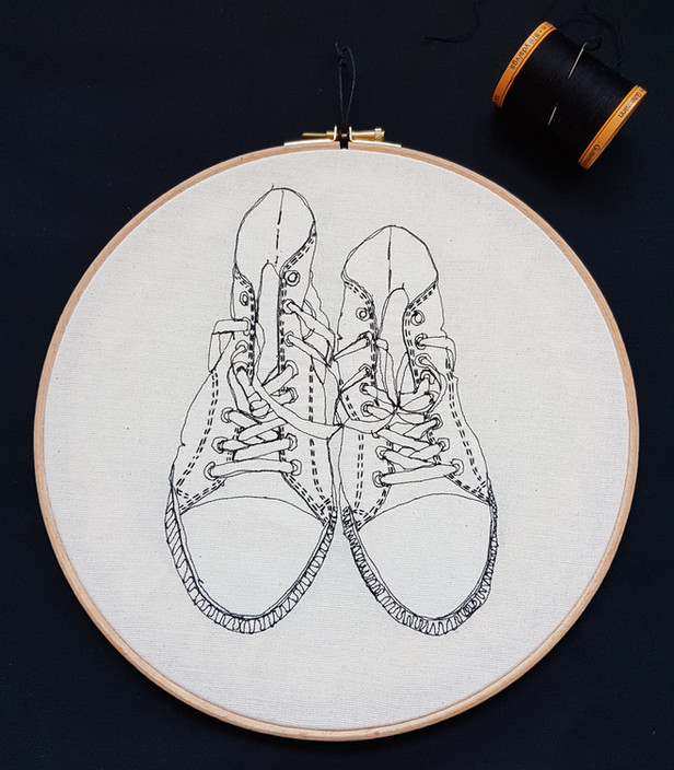 Gemma Rappensberger-an embroidered illustration of Converse trainers