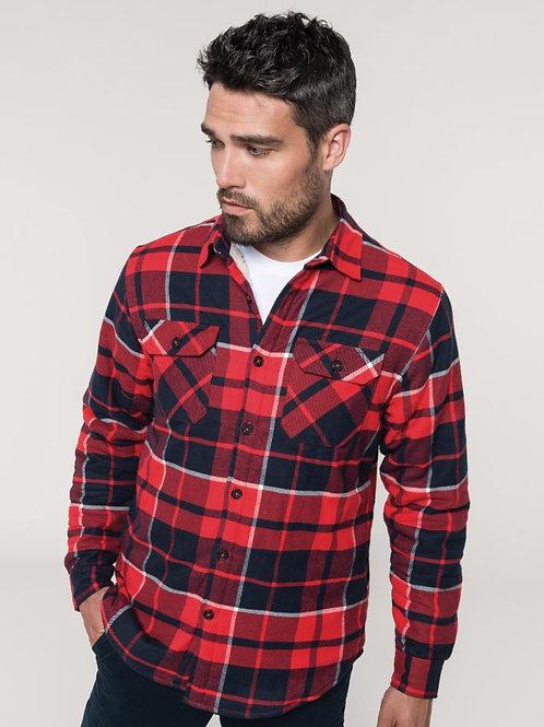 Kariban K579 Flannel Shirt with Sherpa Fleece Lining dolgi rokavi