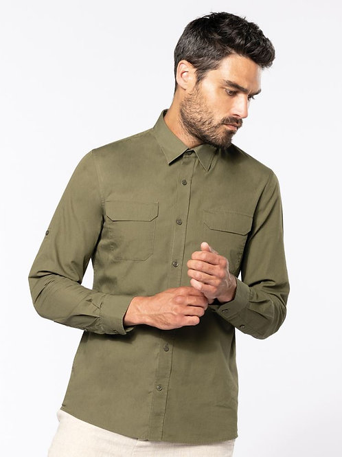 """Kariban K590 Poplin Shirt dolgi rokavi """"Safari"""""""