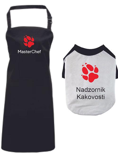 Komplet Predpasnik in majica za pse Master Chef Nadzornik