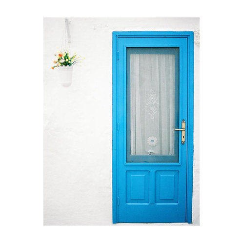 Blue Door on White