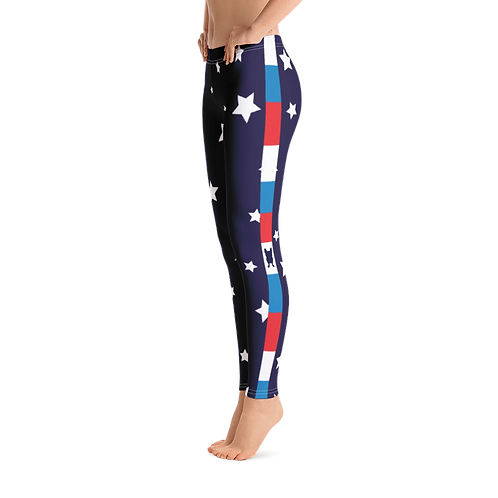 Super Star Leggings With Red White & Blue Side Stripe