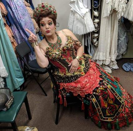 Carlotta lounging backstage at PHANTOM OF THE OPERA