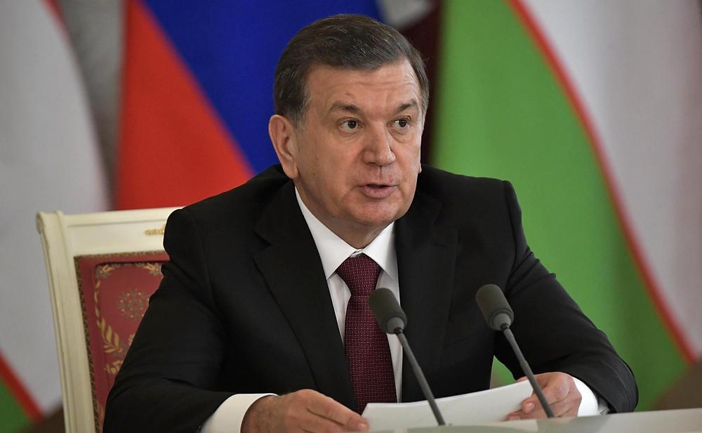 Shavkat Mirziyoyev delivering a speech