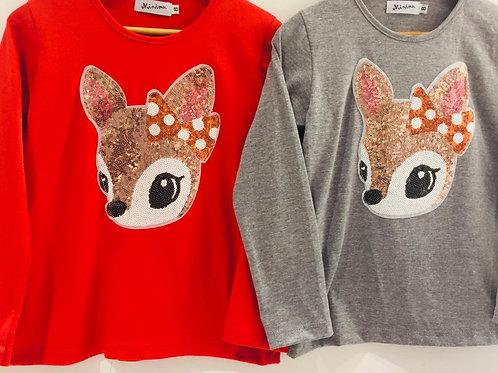 Remera Bambi lentejuelas