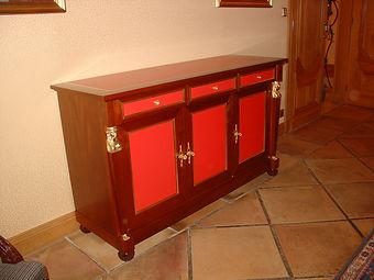 buffet, Empire, tiroirs, Acajou, bronzes,dorures, laque rouge