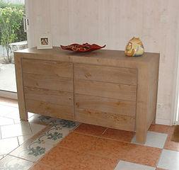 buffet, chène, meuble contemporain, 2 porets, noeud